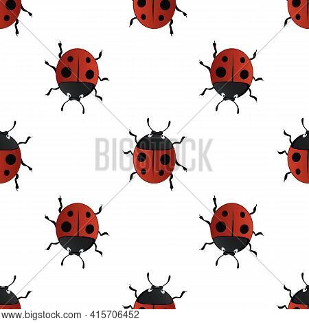 Vector Summer Seamless Pattern With Red Ladybirds-01