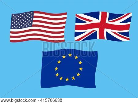 Flags Of Usa, Uk And Eu