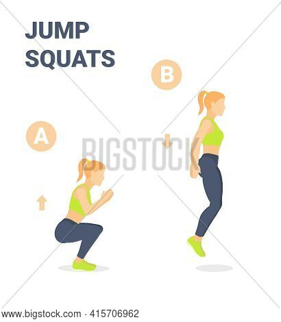 Girl Doing Jump Squats Home Workout Exercise Guidance.