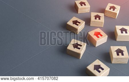 Scattered Blocks With Houses. Finding A Home To Buy. Real Estate Market Review. Find Suitable Afford