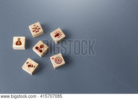 Blocks With Attributes Of A Successful Business. Company Foundation. Development Of Leadership Organ