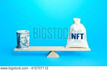 Bag With Nft Non-fungible Token And A Bundle Of Dollars On Scales. Sell Digital Assets Of Art Throug