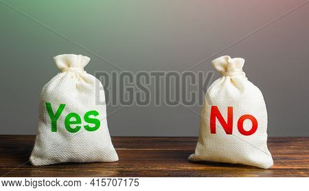 Two Bags With Yes And No. Risk Planning. Advantages And Disadvantages. Useful And Harmful Properties