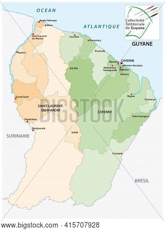 Administrative Vector Map Of The South American State Of French Guiana