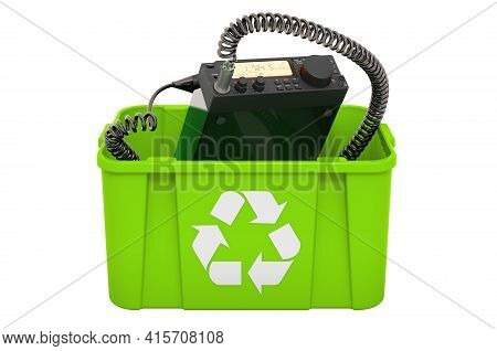 Recycling Trashcan With Amateur Radio Transceiver With Push-to-talk Microphone Switch. 3d Rendering