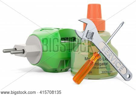 Service And Repair Of Fumigator, 3d Rendering Isolated On White Background