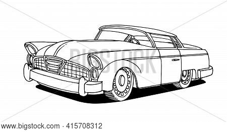 Old American Retro Car Of The 50s-60s With Chrome Details, Vector Illustration With Black Ink Contou
