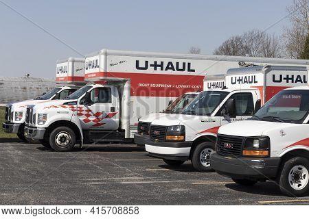 Delphi - Circa April 2021: U-haul Moving Truck Rental Location. U-haul Offers Moving And Storage Sol