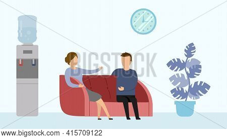 Vector Illustration In Cartoon Flat Style On Blue Background. Office Interior Surrounding. Two Chara