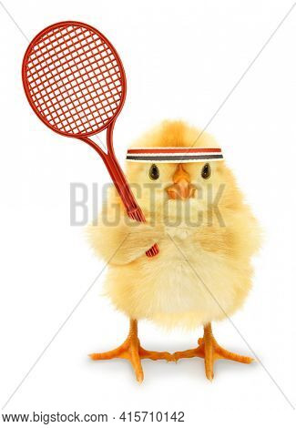 Cute cool chick tennis player with racket or funny conceptual image