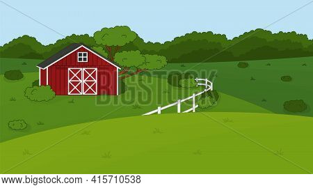 Cartoon Doodle Vector Cute Summer Or Spring Farm In Countryside. Red Barn, White Fence, Green Fields