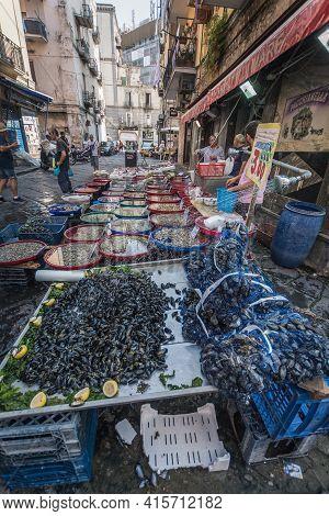 Italy Naples- October 22,2018 Fish Market At The Street Of Naples Italy.