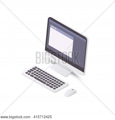 Desktop Personal Computer Concept. Display, Keyboard And Mouse. Isolated On White Background.