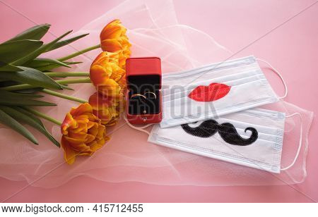 Two Disposable Protective Masks With Painted Mustache And Lips, Two Wedding Rings In Red Gift Box Ne