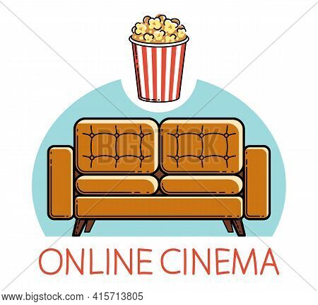Home Rest Online Cinema Sofa And Popcorn Vector Emblem Or Illustration Isolated On White, Stay Home