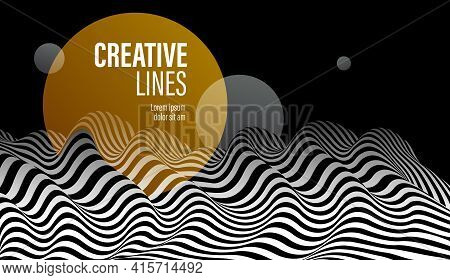 3d Black And White Lines In Perspective With Yellow Circle Splat Abstract Vector Background, Linear