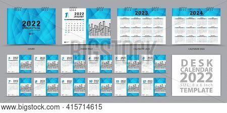 Desk Calendar 2022 Template And Calendar 2023, 2024 Design, Set Of 12 Months, Planner, Wall Calendar