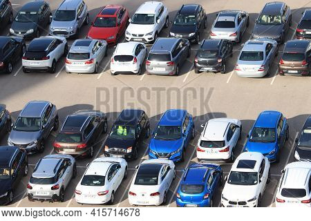 Marseille, France- September 25th 2019: Cars On A Parking Lot Near The Cruise Terminal