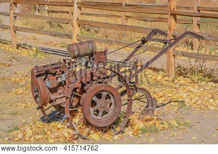 Antique Walk Behind Gas Powered Tilling Equipment Used In The 1800's In Utah