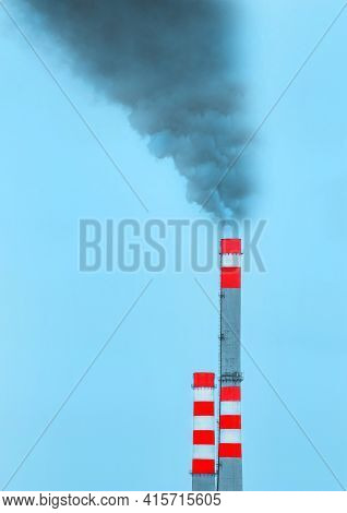 Environmental Pollution, Environmental Problem, Smoke From The Chimney Of An Industrial Plant Or The