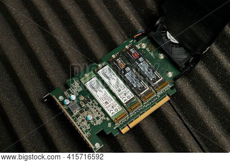 Paris, France - Dec 20, 2020: Open New Dell Ultra Speed Drive Quad Nvme M2 Disk With Multiple Nvme D