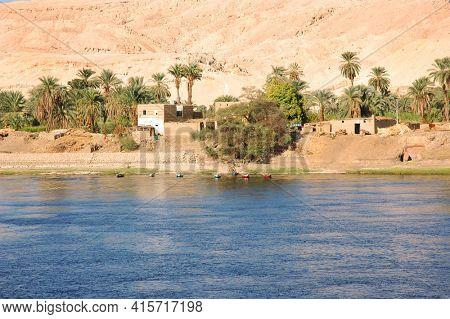Small Settlement on the Nile River, Egypt
