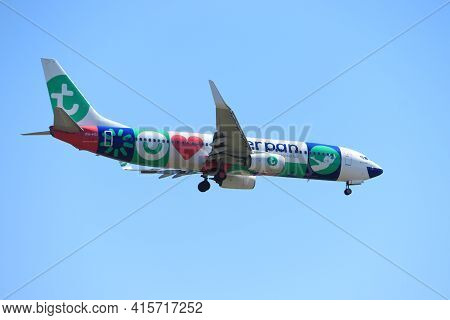 Amsterdam, The Netherlands - August, 7th 2020: Ph-hsi Transavia Boeing 737-800 Final Approach To Pol