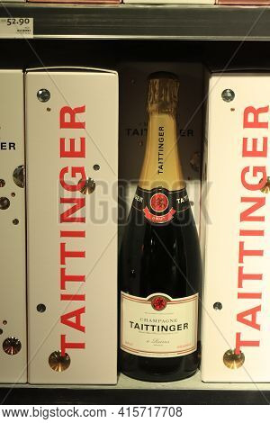 Amsterdam Schiphol Airport, The Netherlands - September 24th 2019: Taittinger Champagne, Bottles In