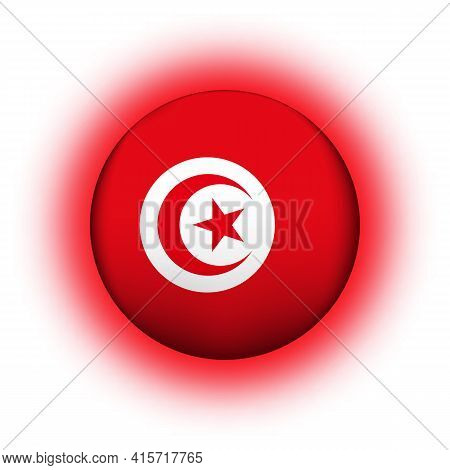 Glass Light Ball With Flag Of Tunisia. Round Sphere, Template Icon. Tunisian National Symbol. Glossy
