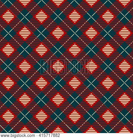 Geometric Check Scottish Skirts Print. Diagonal Modern Tablecloth, Autumn Duvet Or Rug Blue And Red