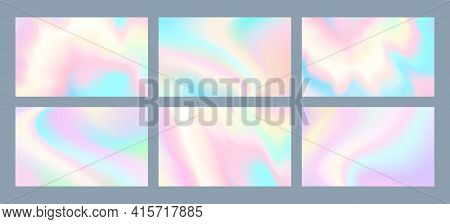 Neon Holographic Background. Holograph Silver Metal Texture, Abstract Hologram Fashion Trends Vector