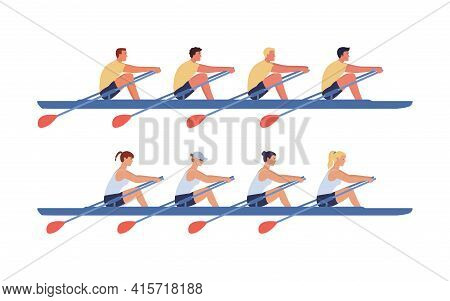 The Women's And Men's Rowing Teams Sail In Boats. Concept Of Competitions In Academic Rowing. Vector
