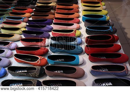 Barcelona, Spain - September 29th 2019: Kokua Shoe Store In Barcelona, Colorful Flat