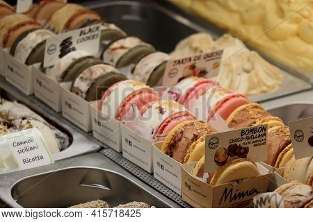 Barcelona, Spain - September 29th 2019: Macaron Ice Cream Sandwich On Display In A Ice Cream Shop In