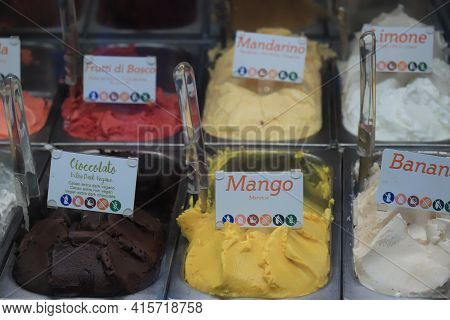 Barcelona, Spain - September 29th 2019: Ice Cream Flavors In Metal Tubs In A Shop. Tags: Product Nam