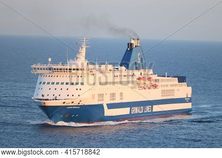 Barcelona, Spain - September 24th 2019: Smeralda Cruise Ferry, Operated By Grimaldi Lines, Sailing T