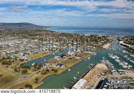 Aerial Photo Of Waterfront Houses In Melbourne Of Australia