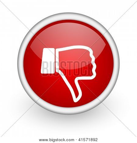 thumb down red circle web icon on white background