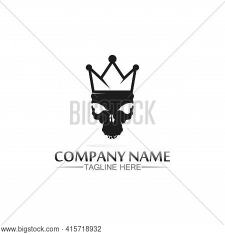 King And Skull Crown Logo Template Vector Icon Illustration Design, Vector Icon Crown, King, Queen,