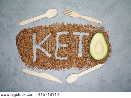 Diet For The Healthy Body. Ketogenic Diet And Healthy Eating. Keto Diet Inscription. Word And A Half