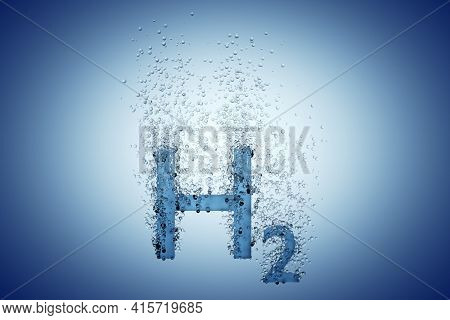 Hydrogen H2 Symbol With Bubbles Over Blue Background, Clean Energy Or Chemistry Concept, 3d Illustra