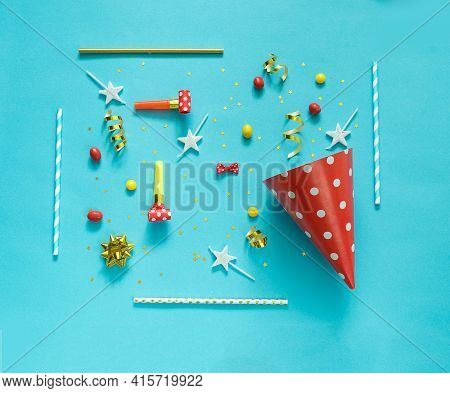 Happy Birthday Background: Party Hat, Balloons, Flute, Serpentine, Stars, Cocktail Tubes, Blower On