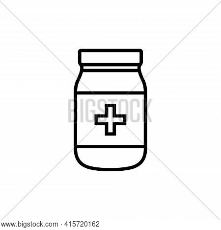 Bottle Medicine, Capsule Icon Vector. Medicament Icon. Pharmaceutical And Treatment Symbols.