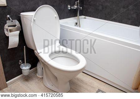 Modern Bathroom Interior In Luxury House. Contemporary Black And White Bathroom Design. Ceramic Toil