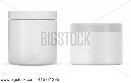 White Plastic Cream Jar. Cosmetic Cream Package Mockup. Round Creme Pack Blank, Realistic 3d Packagi