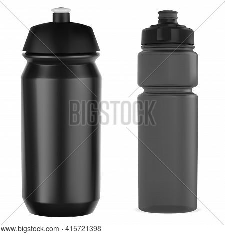 Cycling Bottle. Sport Water Bottle Mockup, Gym Can. Athletic Plastic Canister Template, Black Fitnes