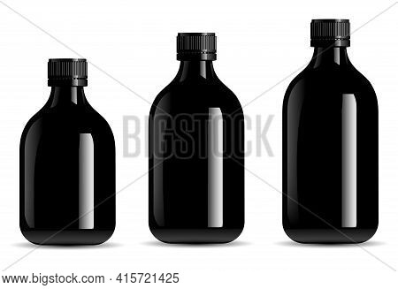 Black Bottle Mockup. Black Glass Syrup Jar, Tincture Vial. Screw Cap Container For Organic Essential