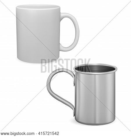 White Coffee Cup Mockup. Silver Metal Mug Isolated. Ceramic Teacup With Handle 3d Vector Template. I