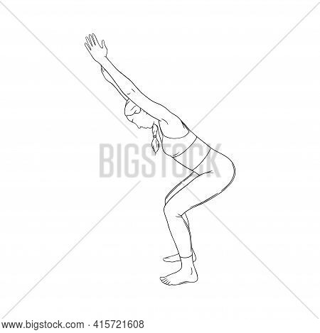 Woman Practicing Yoga Asana And Movements. Hatha Yoga Chair Pose. Sketch Vector Illustration In Whit