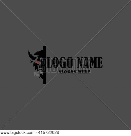 Simple Head Bison Logo Design Template Vector